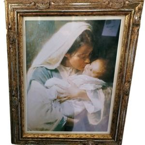 Mary & Jesus Kissing The Face of God Framed Mother Child Print Morgan Weistling